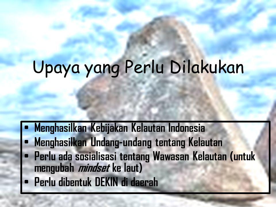 Permasalahan yang Dihadapi Belum ada Kebijakan Kelautan Indonesia Belum ada Undang-undang tentang Kelautan Mindset yang cenderung ke darat (land based)