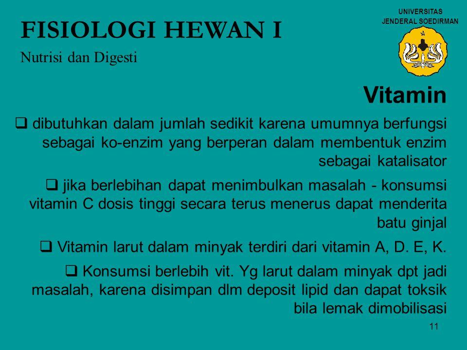11 UNIVERSITAS JENDERAL SOEDIRMAN FISIOLOGI HEWAN I Nutrisi dan Digesti Vitamin  dibutuhkan dalam jumlah sedikit karena umumnya berfungsi sebagai ko-