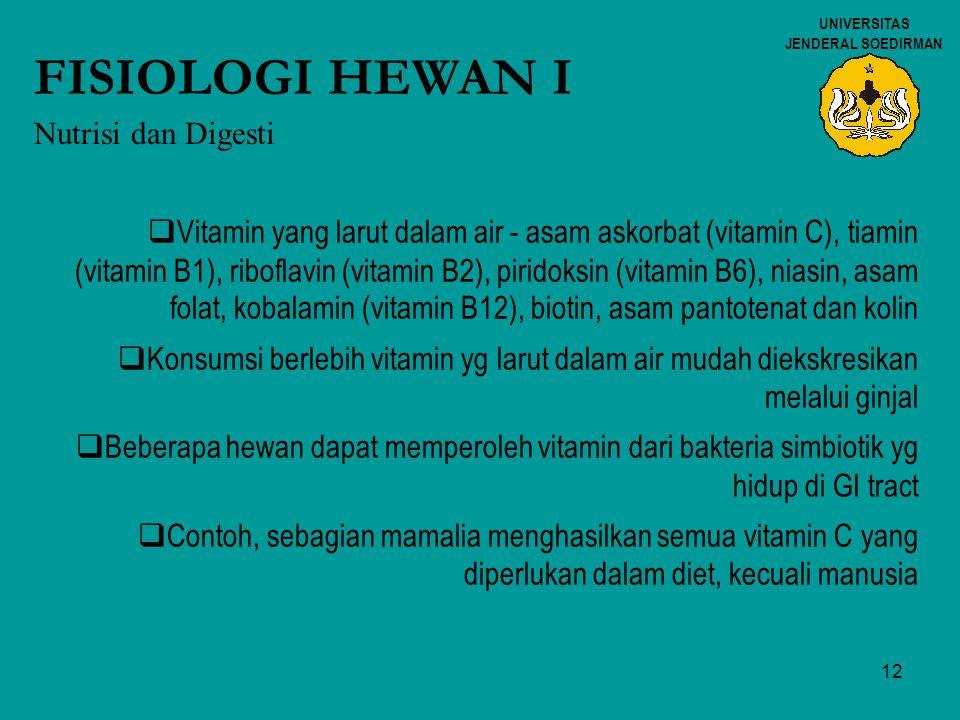 12 UNIVERSITAS JENDERAL SOEDIRMAN FISIOLOGI HEWAN I Nutrisi dan Digesti  Vitamin yang larut dalam air - asam askorbat (vitamin C), tiamin (vitamin B1