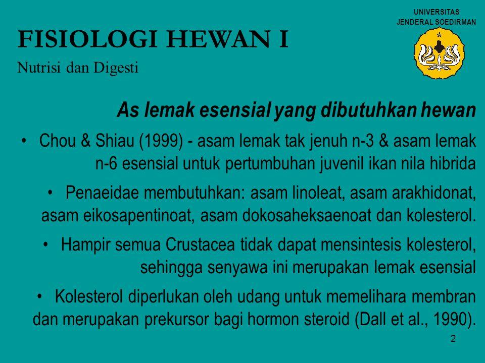 2 UNIVERSITAS JENDERAL SOEDIRMAN FISIOLOGI HEWAN I Nutrisi dan Digesti As lemak esensial yang dibutuhkan hewan Chou & Shiau (1999) - asam lemak tak je