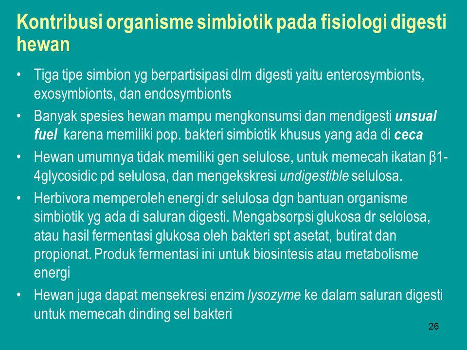 26 Kontribusi organisme simbiotik pada fisiologi digesti hewan Tiga tipe simbion yg berpartisipasi dlm digesti yaitu enterosymbionts, exosymbionts, da