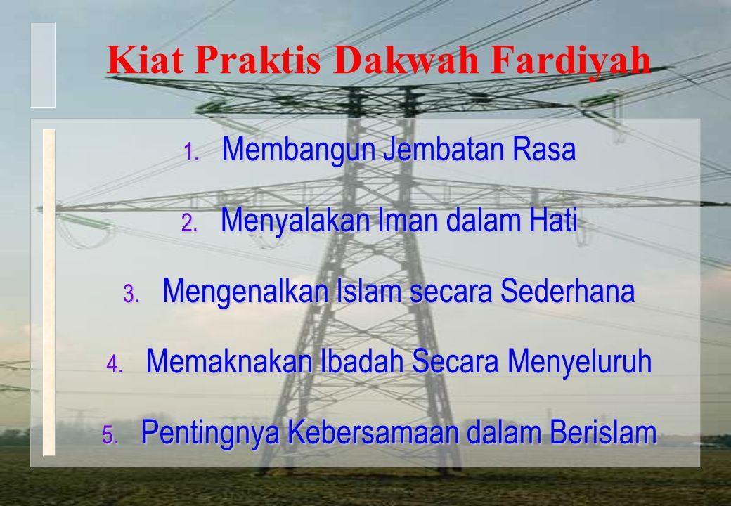 Kiat Praktis Dakwah Fardiyah 1. Membangun Jembatan Rasa 2. Menyalakan Iman dalam Hati 3. Mengenalkan Islam secara Sederhana 4. Memaknakan Ibadah Secar