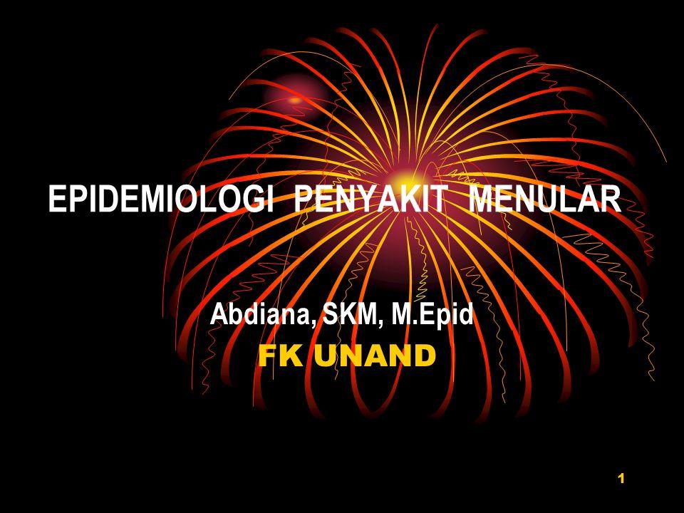 EPIDEMIOLOGI PENYAKIT MENULAR Abdiana, SKM, M.Epid FK UNAND 1