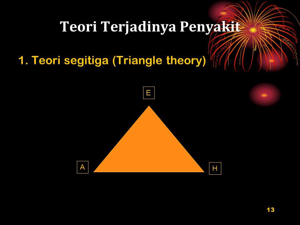 Teori Terjadinya Penyakit 1. Teori segitiga (Triangle theory) 13 A H E