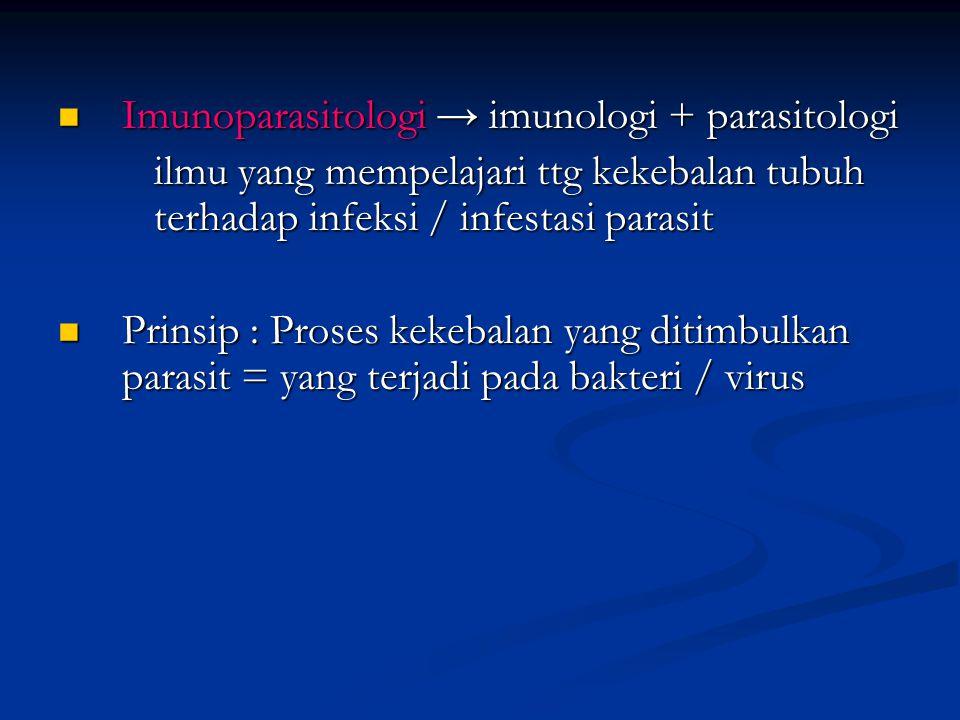 RESPON IMUN TERHADAP HELMINTH Helminth merupakan parasit ekstraseluler, berukuran besar ≠ fagositosis Helminth merupakan parasit ekstraseluler, berukuran besar ≠ fagositosis Nematoda intestinal mengakibatkan reaksi inflamasi dan hipersensitifitas