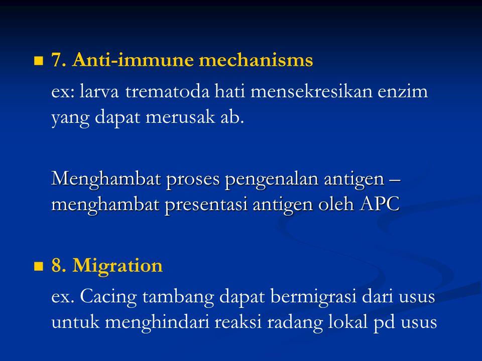 6. Immunosupression – manipulation of the immune response. - Infeksi berat nematoda sering terjadi tanpa gejala - Parasit mensekresikan bahan yang ber