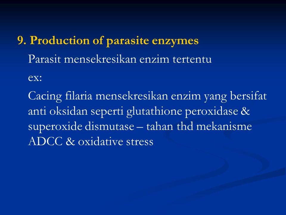 7. Anti-immune mechanisms ex: larva trematoda hati mensekresikan enzim yang dapat merusak ab. Menghambat proses pengenalan antigen – menghambat presen