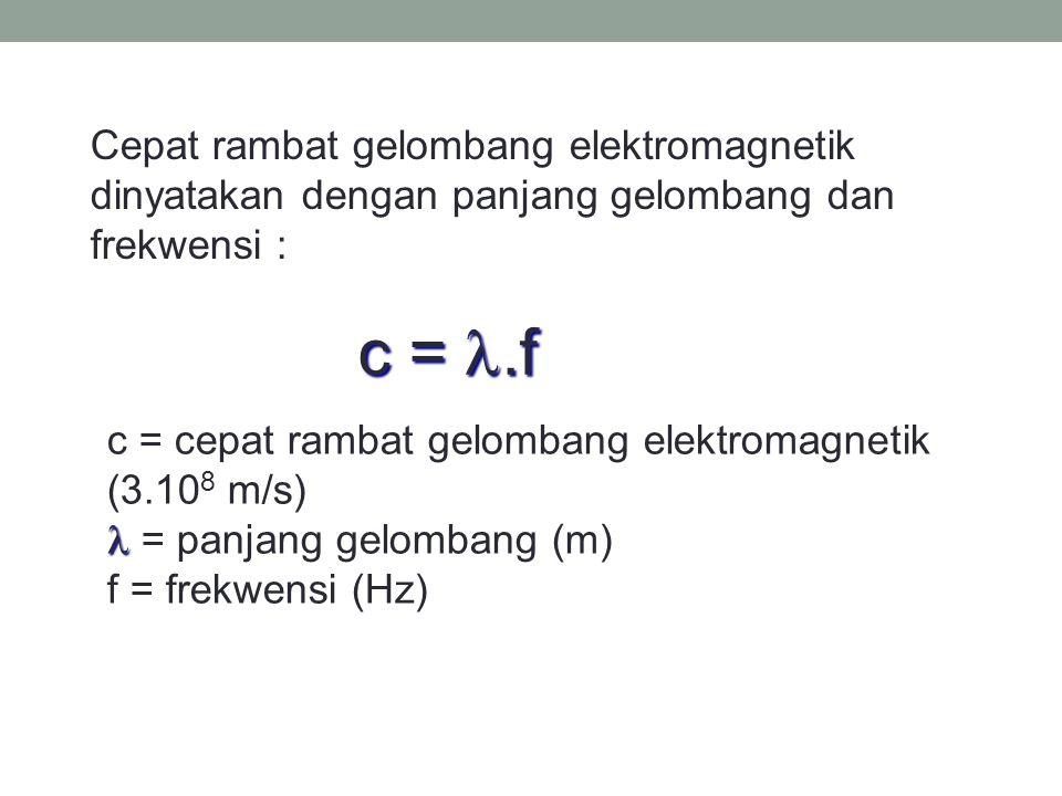 Kecepatan gelombang elektromagnetik sama dengan kecepatan cahaya yang dirumuskan :  o = 8.85 x 10 -12 C 2 /Nm 2  o = 12.56 x 10 -7 wb/amp.m C = 3.