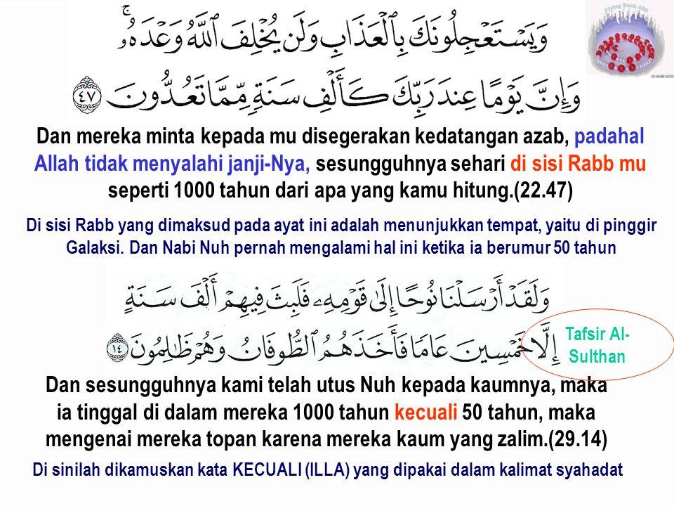 Dan mereka minta kepada mu disegerakan kedatangan azab, padahal Allah tidak menyalahi janji-Nya, sesungguhnya sehari di sisi Rabb mu seperti 1000 tahu