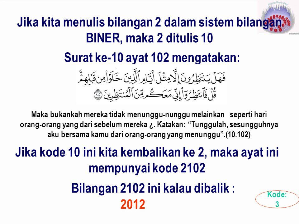 Jika kita menulis bilangan 2 dalam sistem bilangan BINER, maka 2 ditulis 10 Surat ke-10 ayat 102 mengatakan: Maka bukankah mereka tidak menunggu-nungg
