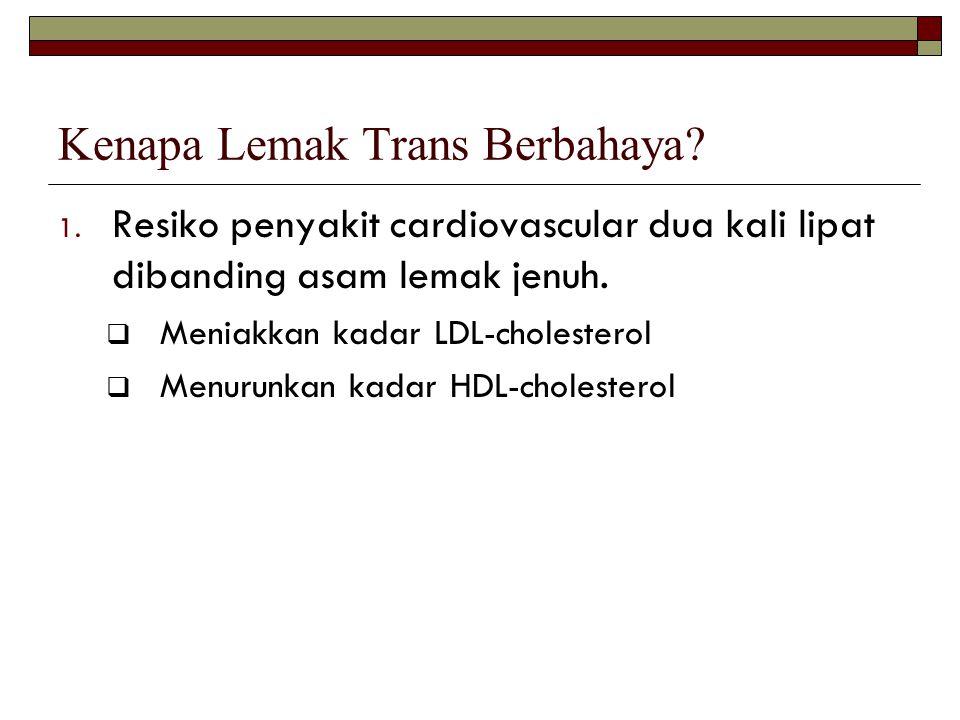Kenapa Lemak Trans Berbahaya? 1. Resiko penyakit cardiovascular dua kali lipat dibanding asam lemak jenuh.  Meniakkan kadar LDL-cholesterol  Menurun