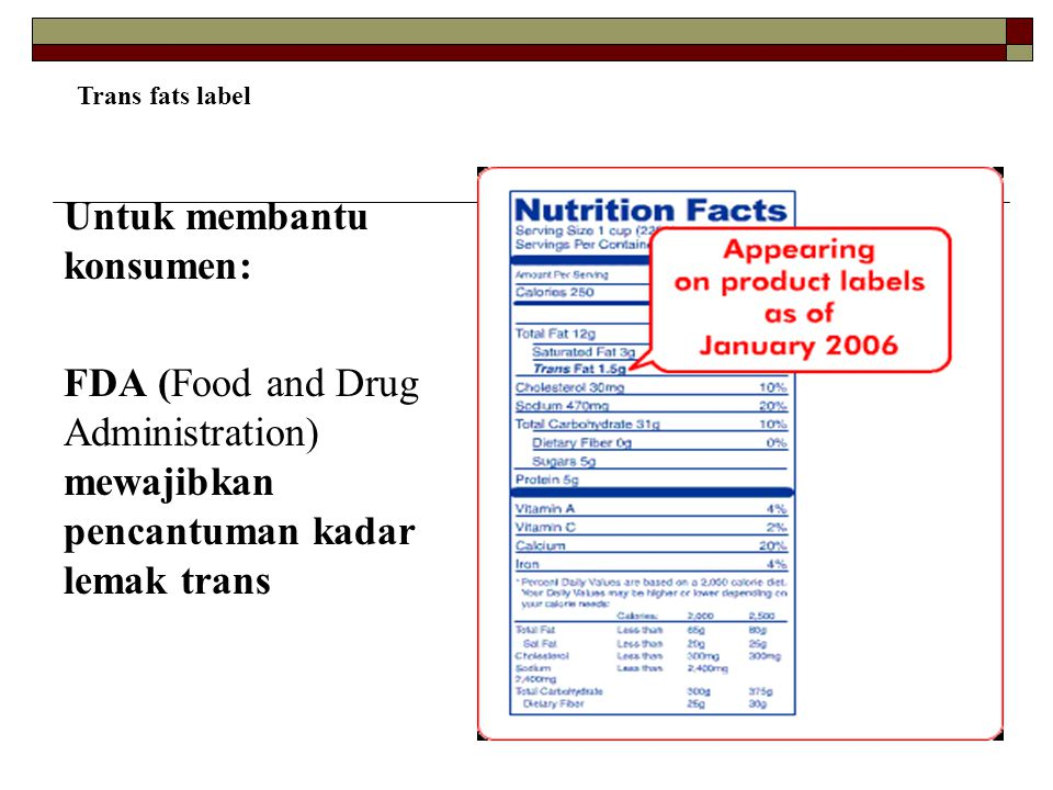 Untuk membantu konsumen: FDA (Food and Drug Administration) mewajibkan pencantuman kadar lemak trans Trans fats label