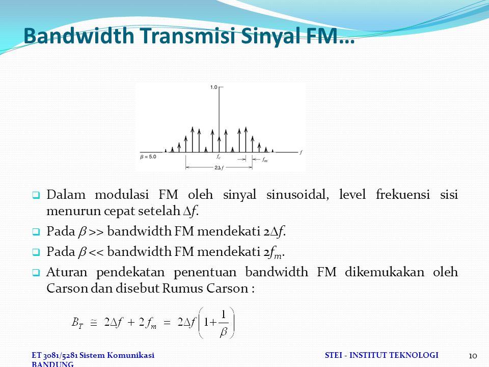 ET 3081/5281 Sistem KomunikasiSTEI - INSTITUT TEKNOLOGI BANDUNG 10 Bandwidth Transmisi Sinyal FM…  Dalam modulasi FM oleh sinyal sinusoidal, level frekuensi sisi menurun cepat setelah  f.