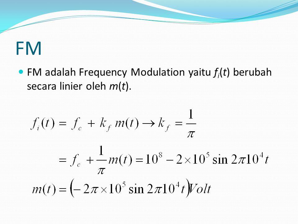 FM FM adalah Frequency Modulation yaitu f i (t) berubah secara linier oleh m(t).