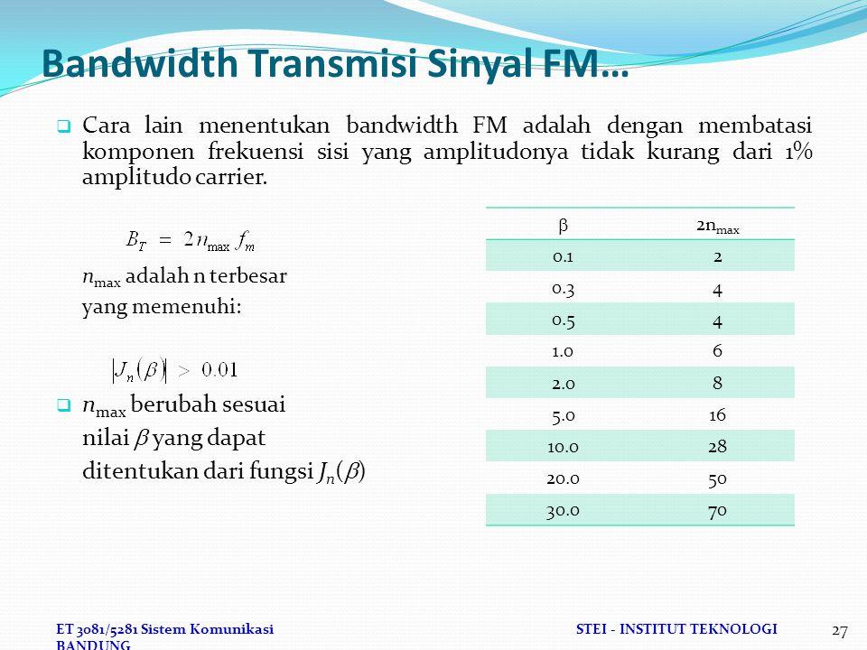 ET 3081/5281 Sistem KomunikasiSTEI - INSTITUT TEKNOLOGI BANDUNG 27 Bandwidth Transmisi Sinyal FM…  Cara lain menentukan bandwidth FM adalah dengan membatasi komponen frekuensi sisi yang amplitudonya tidak kurang dari 1% amplitudo carrier.