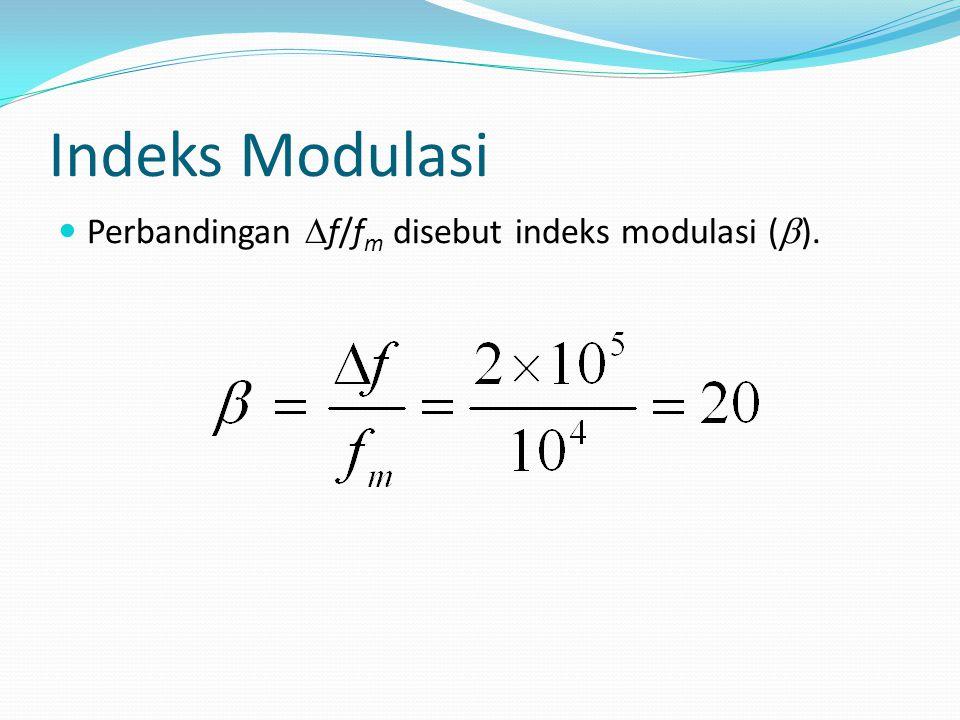 Indeks Modulasi Perbandingan  f/f m disebut indeks modulasi (  ).