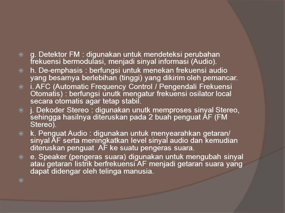  g. Detektor FM : digunakan untuk mendeteksi perubahan frekuensi bermodulasi, menjadi sinyal informasi (Audio).  h. De-emphasis : berfungsi untuk me