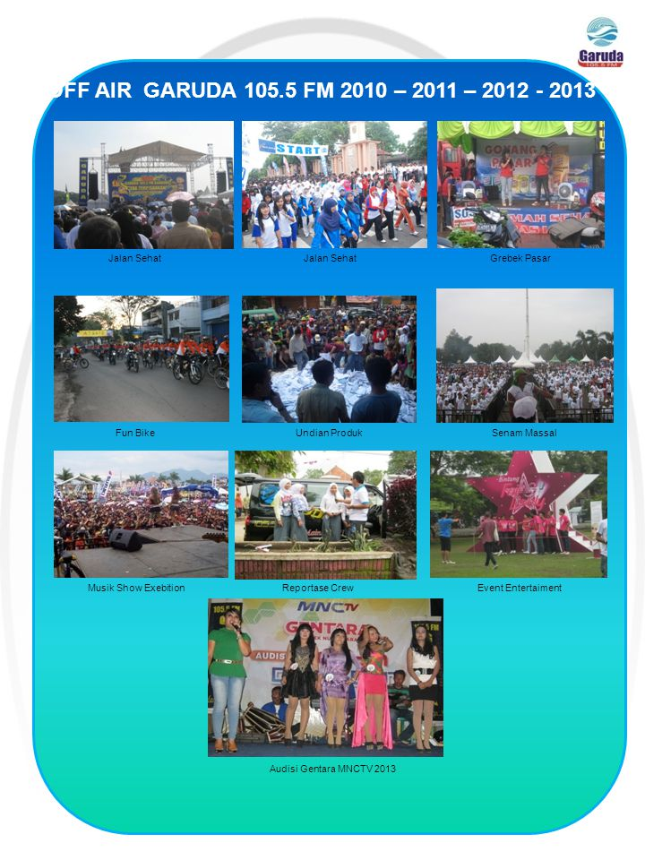 OFF AIR GARUDA 105.5 FM 2010 – 2011 – 2012 - 2013 Reportase Crew Undian Produk Event Entertaiment Fun Bike Senam Massal Jalan Sehat Grebek Pasar Musik