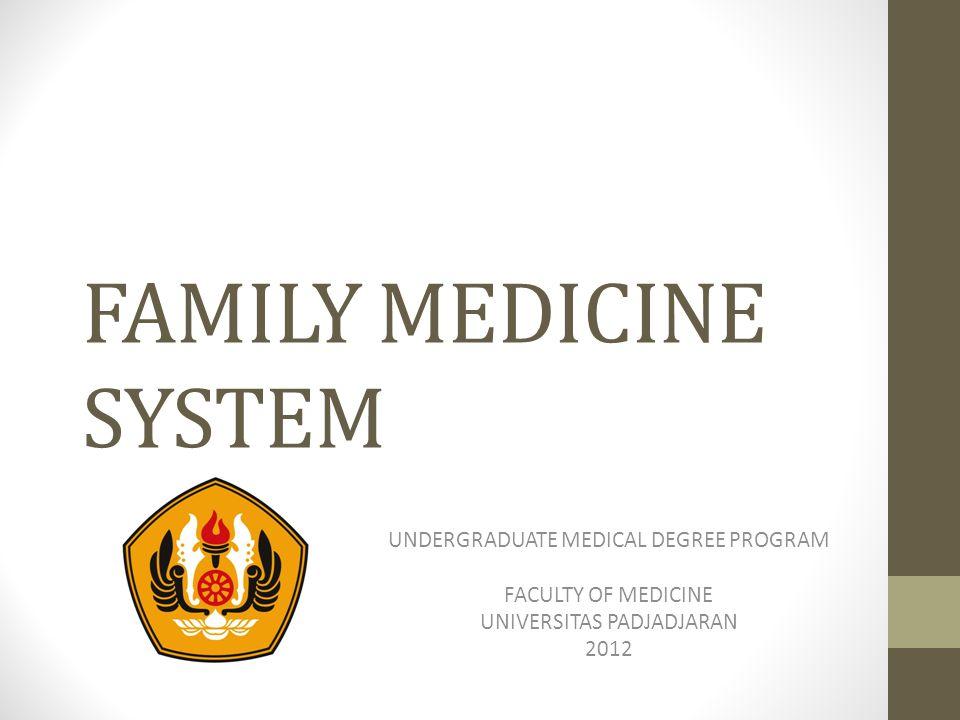 FAMILY MEDICINE SYSTEM UNDERGRADUATE MEDICAL DEGREE PROGRAM FACULTY OF MEDICINE UNIVERSITAS PADJADJARAN 2012