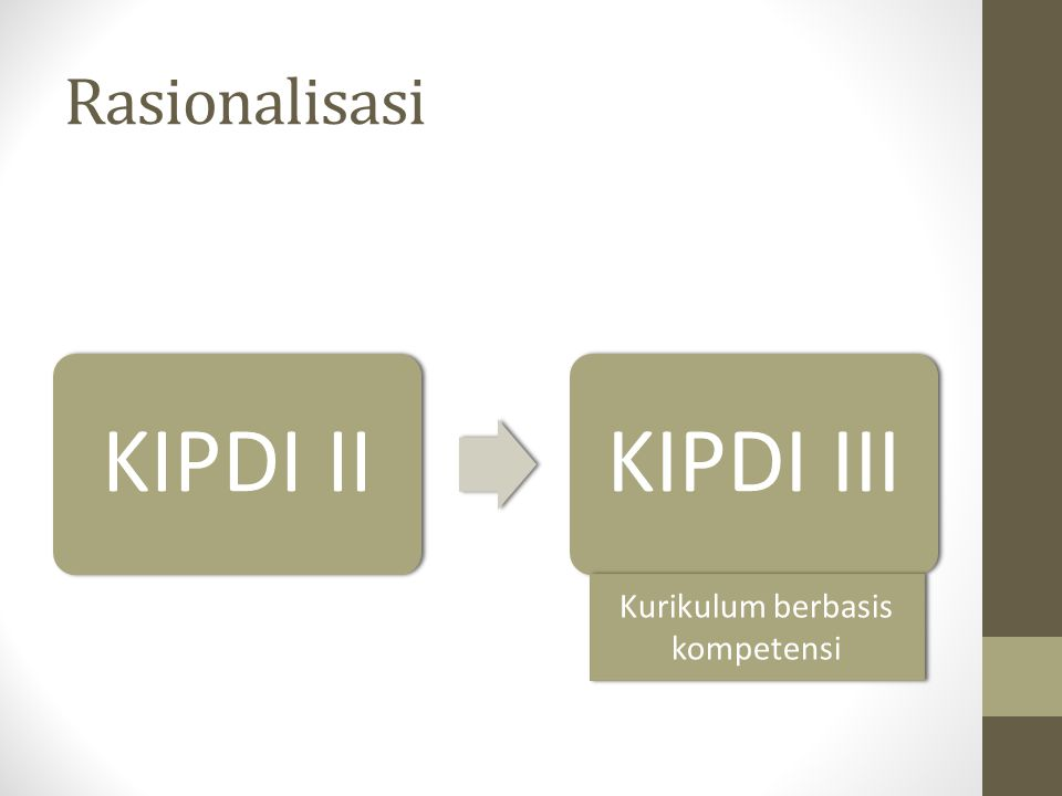 Rasionalisasi KIPDI IIKIPDI III Kurikulum berbasis kompetensi