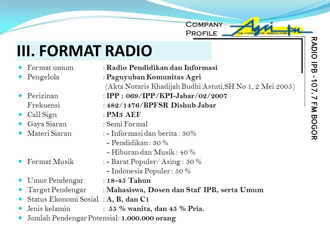 III. FORMAT RADIO Format umum : Radio Pendidikan dan Informasi Pengelola: Paguyuban Komunitas Agri (Akta Notaris Khadijah Budhi Astuti,SH No 1, 2 Mei