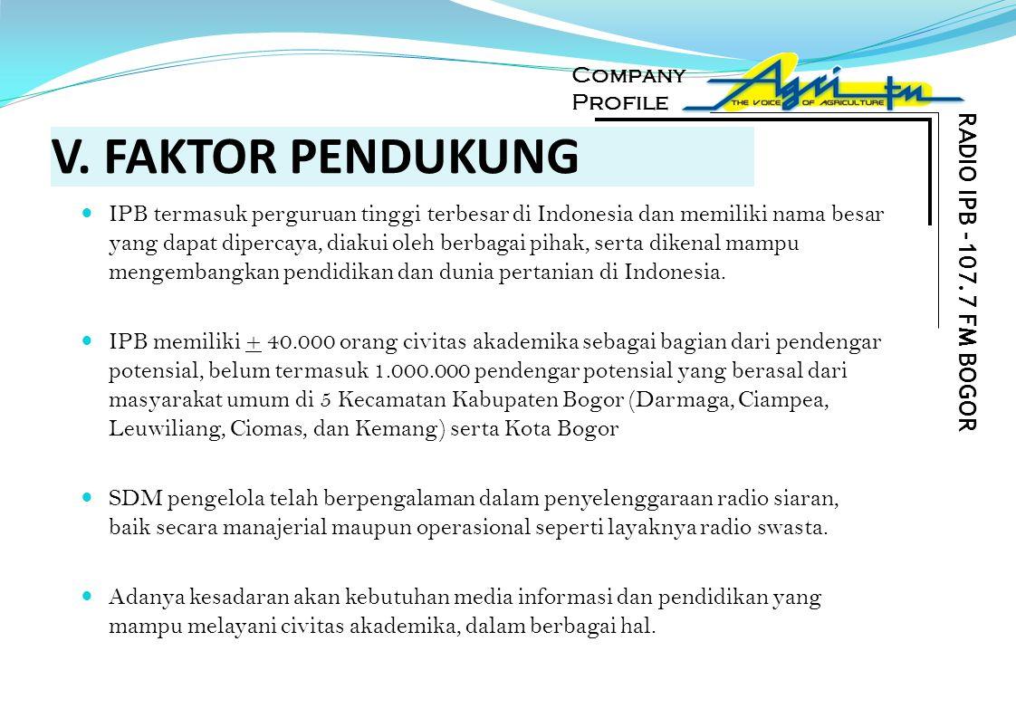 V. FAKTOR PENDUKUNG IPB termasuk perguruan tinggi terbesar di Indonesia dan memiliki nama besar yang dapat dipercaya, diakui oleh berbagai pihak, sert