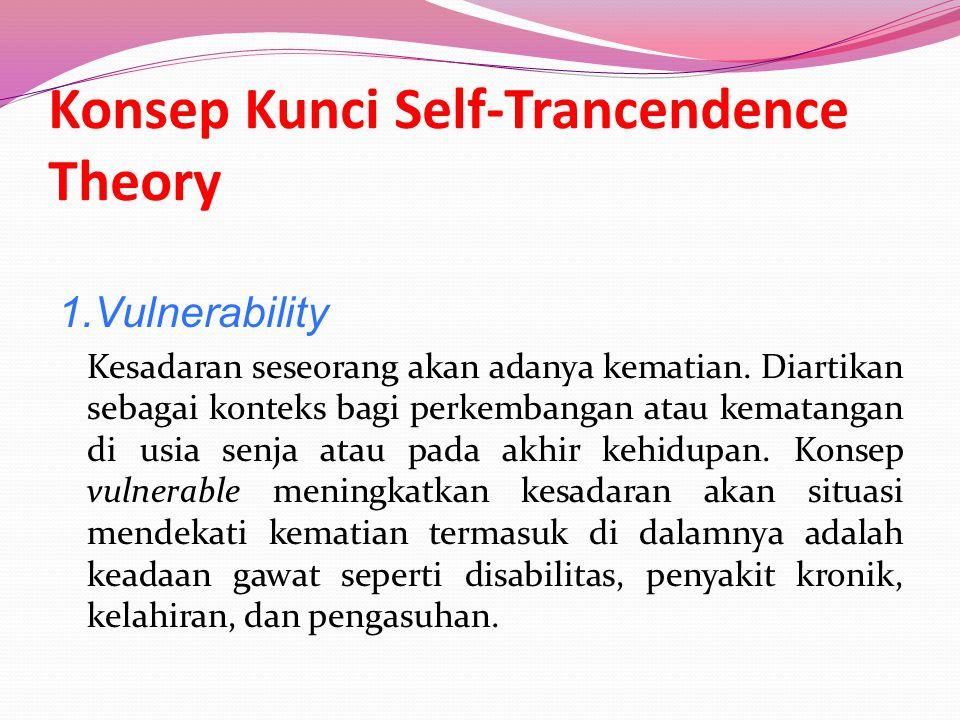 Konsep Kunci Self-Trancendence Theory 1.Vulnerability Kesadaran seseorang akan adanya kematian.