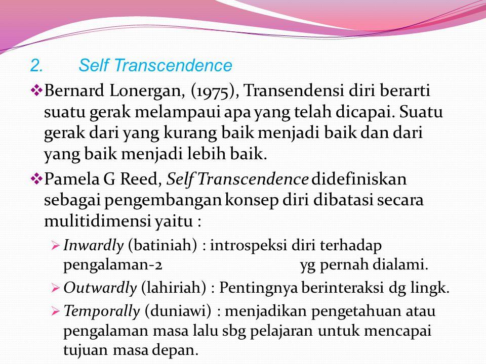 Konsep Kunci Self-Trancendence Theory 1.Vulnerability Kesadaran seseorang akan adanya kematian. Diartikan sebagai konteks bagi perkembangan atau kemat
