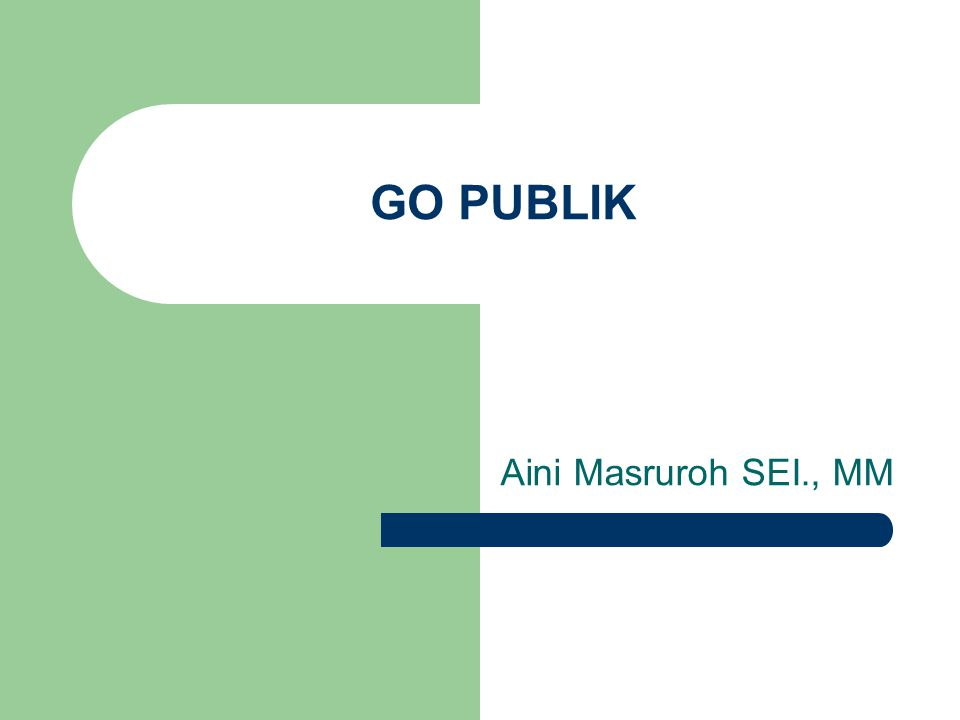 GO PUBLIK Aini Masruroh SEI., MM