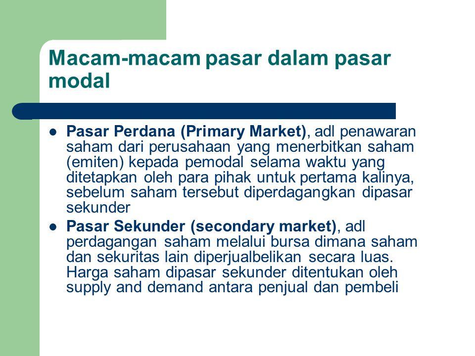 Macam-macam pasar dalam pasar modal Pasar Perdana (Primary Market), adl penawaran saham dari perusahaan yang menerbitkan saham (emiten) kepada pemodal