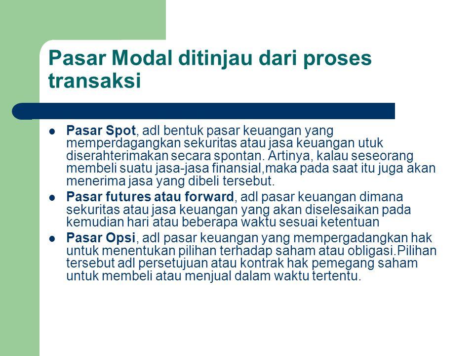 Pasar Modal ditinjau dari proses transaksi Pasar Spot, adl bentuk pasar keuangan yang memperdagangkan sekuritas atau jasa keuangan utuk diserahterimak