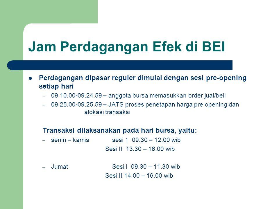 Jam Perdagangan Efek di BEI Perdagangan dipasar reguler dimulai dengan sesi pre-opening setiap hari – 09.10.00-09.24.59 – anggota bursa memasukkan ord