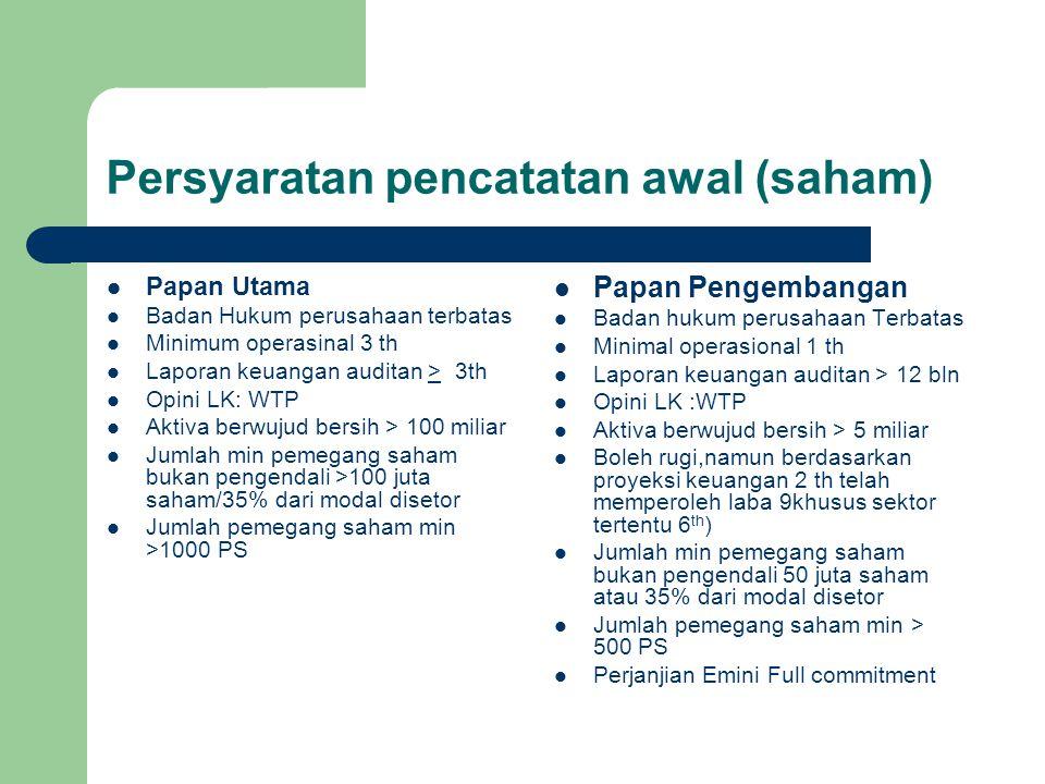 Persyaratan pencatatan awal (saham) Papan Utama Badan Hukum perusahaan terbatas Minimum operasinal 3 th Laporan keuangan auditan > 3th Opini LK: WTP A