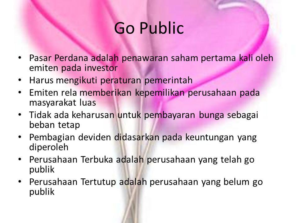 Go Public Pasar Perdana adalah penawaran saham pertama kali oleh emiten pada investor Harus mengikuti peraturan pemerintah Emiten rela memberikan kepe