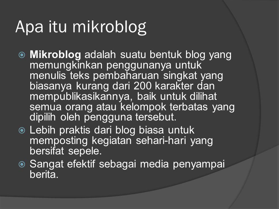 Apa itu mikroblog  Mikroblog adalah suatu bentuk blog yang memungkinkan penggunanya untuk menulis teks pembaharuan singkat yang biasanya kurang dari