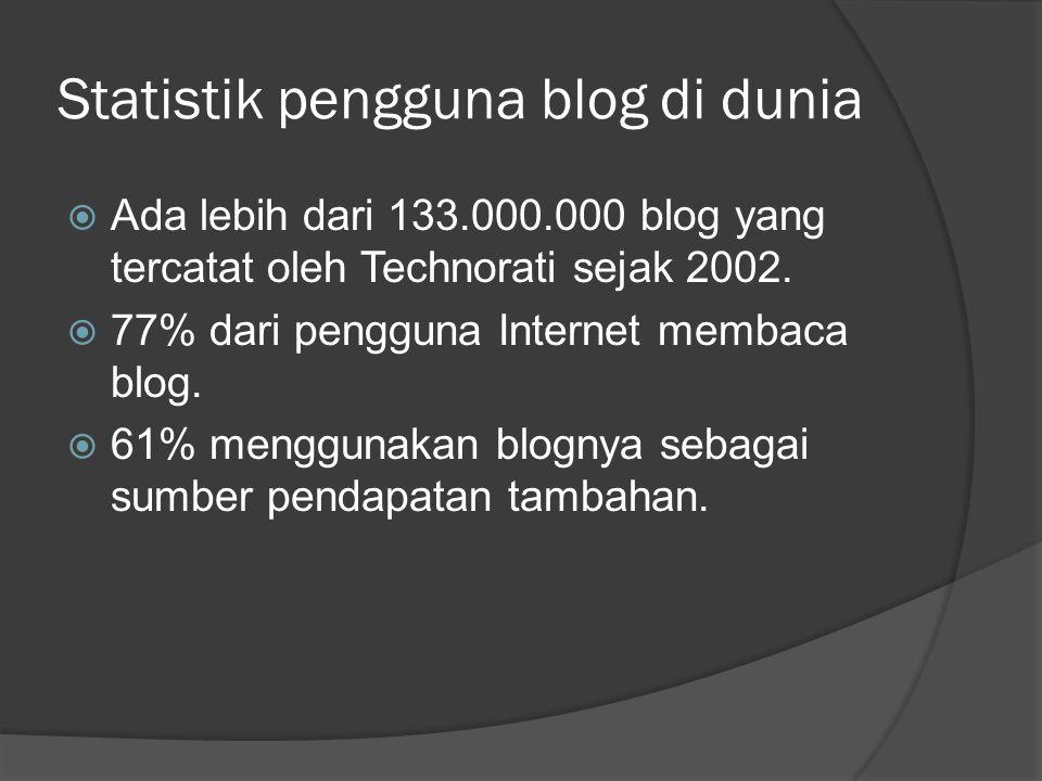 Statistik pengguna blog di dunia  Ada lebih dari 133.000.000 blog yang tercatat oleh Technorati sejak 2002.  77% dari pengguna Internet membaca blog