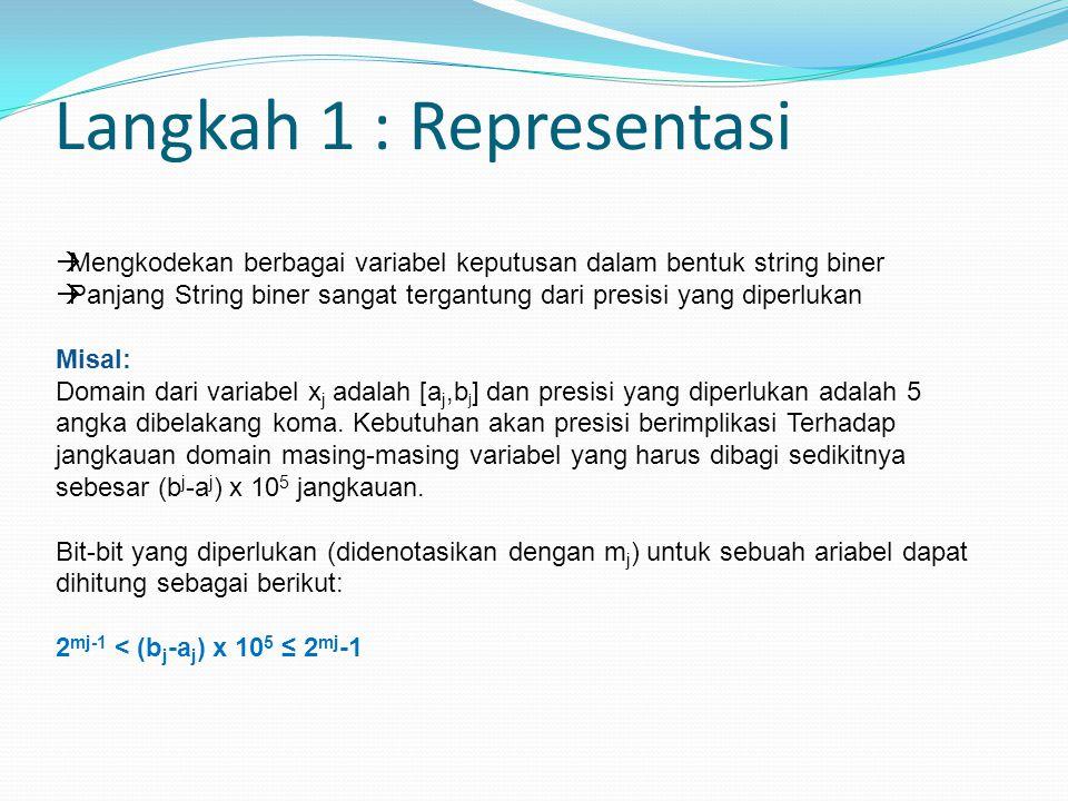 Langkah 1 : Representasi  Mengkodekan berbagai variabel keputusan dalam bentuk string biner  Panjang String biner sangat tergantung dari presisi yang diperlukan Misal: Domain dari variabel x j adalah [a j,b j ] dan presisi yang diperlukan adalah 5 angka dibelakang koma.