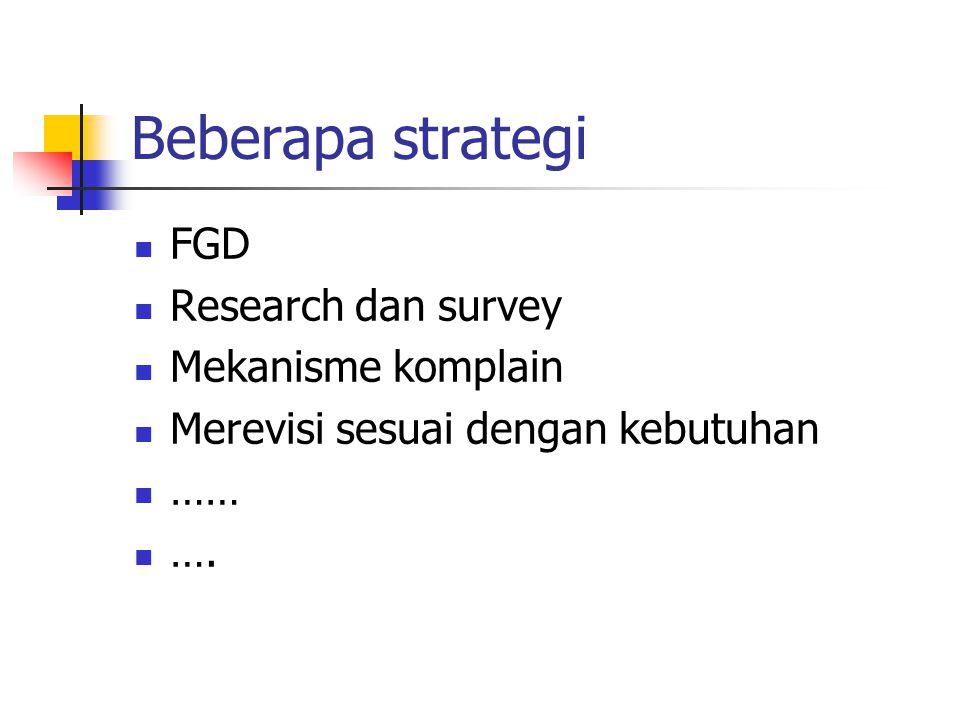 Beberapa strategi FGD Research dan survey Mekanisme komplain Merevisi sesuai dengan kebutuhan …… ….