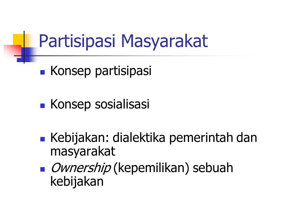 Partisipasi Masyarakat Konsep partisipasi Konsep sosialisasi Kebijakan: dialektika pemerintah dan masyarakat Ownership (kepemilikan) sebuah kebijakan