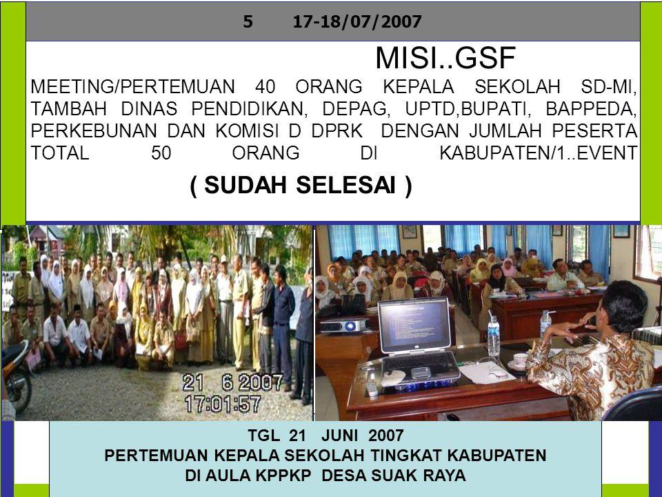 MISI..GSF MEETING/PERTEMUAN 40 ORANG KOMITE SEKOLAH SD- MI,TAMBAH DINAS PENDIDIKAN,DEPAG, CAMAT, MUKIM, BUPATI,BAPPEDA,DINAS KESEHATAN DAN KOMISI D DPRK DENGAN JUMLAH PESERTA TOTAL50 ORANG DI KABUPATEN / 1..EVENT (SUDAH SELESAI ) 617-18/07/2007 TGL 23 JUNI 2007 PERTEMUAN KEPALA SEKOLAH TINGKAT KABUPATEN DI AULA KPPKP DESA SUAK RAYA