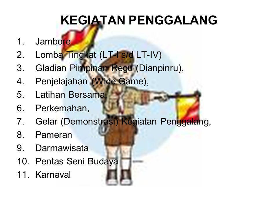 KEGIATAN PENGGALANG 1.Jambore 2.Lomba Tingkat (LT-I s/d LT-IV) 3.Gladian Pimpinan Regu (Dianpinru), 4.Penjelajahan (Wide Game), 5.Latihan Bersama, 6.P