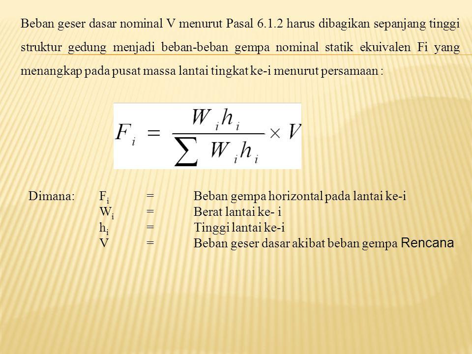 Beban geser dasar nominal V menurut Pasal 6.1.2 harus dibagikan sepanjang tinggi struktur gedung menjadi beban-beban gempa nominal statik ekuivalen Fi yang menangkap pada pusat massa lantai tingkat ke-i menurut persamaan : Dimana:F i =Beban gempa horizontal pada lantai ke-i W i =Berat lantai ke- i h i =Tinggi lantai ke-i V=Beban geser dasar akibat beban gempa Rencana