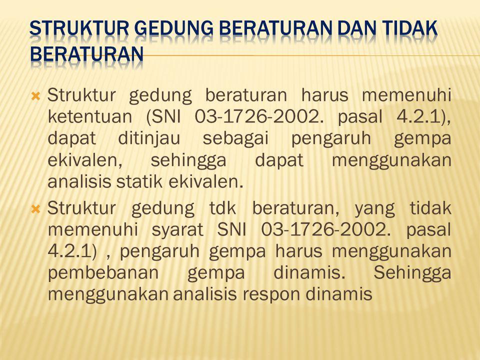  Struktur gedung beraturan harus memenuhi ketentuan (SNI 03-1726-2002.