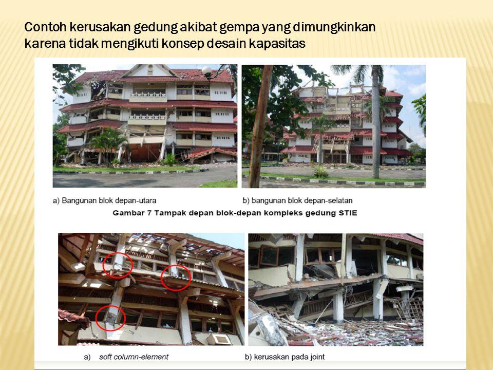 Contoh kerusakan gedung akibat gempa yang dimungkinkan karena tidak mengikuti konsep desain kapasitas