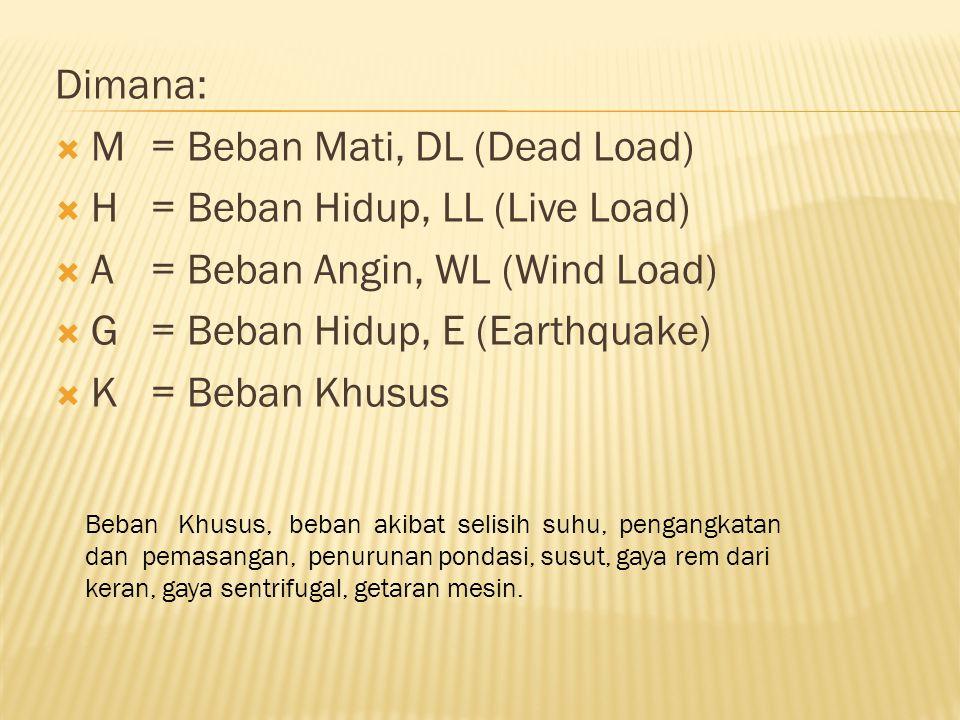 Dimana:  M= Beban Mati, DL (Dead Load)  H= Beban Hidup, LL (Live Load)  A= Beban Angin, WL (Wind Load)  G= Beban Hidup, E (Earthquake)  K= Beban Khusus Beban Khusus, beban akibat selisih suhu, pengangkatan dan pemasangan, penurunan pondasi, susut, gaya rem dari keran, gaya sentrifugal, getaran mesin.