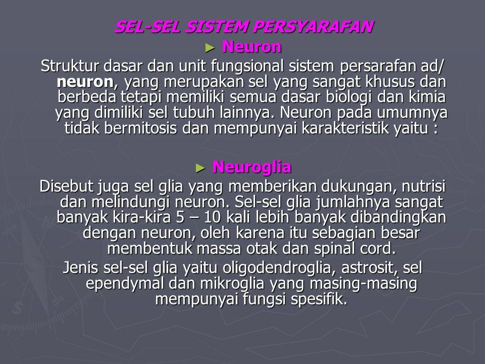 SEL-SEL SISTEM PERSYARAFAN ► Neuron Struktur dasar dan unit fungsional sistem persarafan ad/ neuron, yang merupakan sel yang sangat khusus dan berbeda