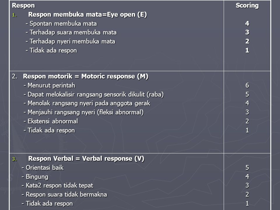 Respon 1. Respon membuka mata=Eye open (E) - Spontan membuka mata - Spontan membuka mata - Terhadap suara membuka mata - Terhadap suara membuka mata -