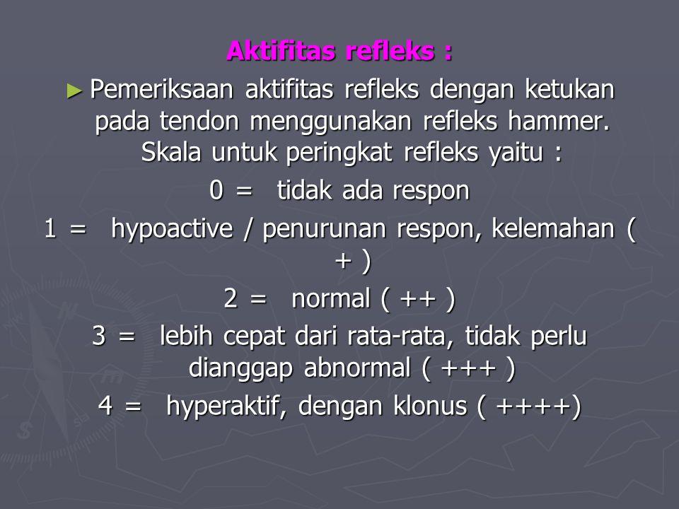 Aktifitas refleks : ► Pemeriksaan aktifitas refleks dengan ketukan pada tendon menggunakan refleks hammer. Skala untuk peringkat refleks yaitu : 0=tid