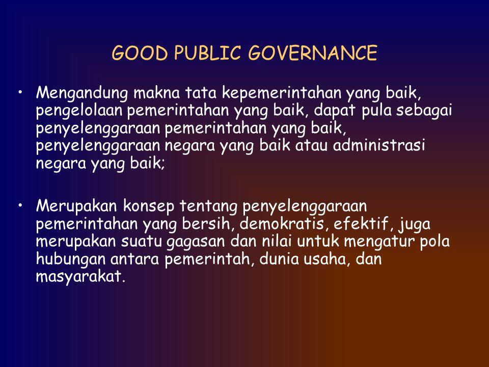 GOOD PUBLIC GOVERNANCE Mengandung makna tata kepemerintahan yang baik, pengelolaan pemerintahan yang baik, dapat pula sebagai penyelenggaraan pemerint