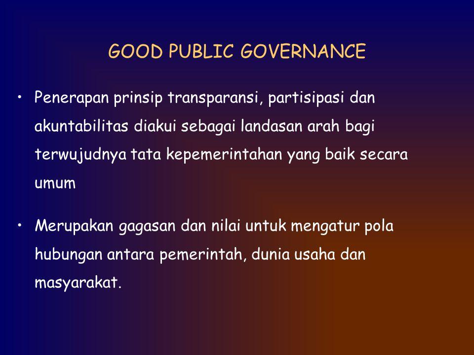 GOOD PUBLIC GOVERNANCE Penerapan prinsip transparansi, partisipasi dan akuntabilitas diakui sebagai landasan arah bagi terwujudnya tata kepemerintahan